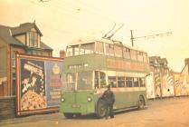 Trolleybuses outside Llanelli station 1952 (C....