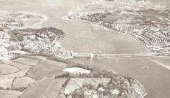Aerial photo of Conwy bridges and castle