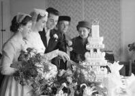 Wedding photo in pre-fab, Llandinam Crescent,...