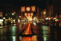 Christmas lights in Queen Street Cardiff 1968