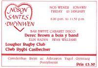 Tocyn ar gyfer digwyddiad Noson Santes Dwynwen