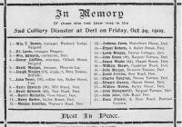 Deri colliery disaster memorial card