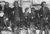 Colliers enjoying a drink in Cwm-bach, Aberdare...