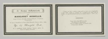 Manylion cerdyn coffa Margaret Howells