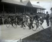 The start of a cycle race in Carmarthen Park ...