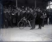 The start of a cycle race in Carmarthen Park