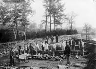 Workers at the weir, Necastle Emlyn