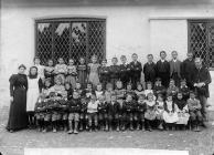 Pupils at the national school, Llanfair...