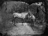 man with a horse and a dog