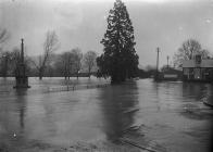 Flooding and War memorial at Builth Wells