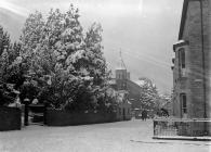 Garth road, Builth Wells, in the snow