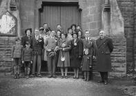 Wedding group outside Builth Wells baptist church