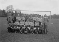 Builth Juniors football team 1949-50, taken at...