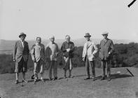 Six gentlemen golfers on a golf course