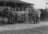 Nine men outside Llandrindod Wells Golf Club...