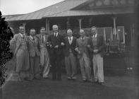 Seven men outside Llandrindod Wells Golf Club...