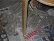 Clay formed to make hands