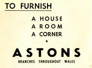 Hysbyseb Astons furnishers [Saesneg]