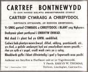 Hysbyseb ar gyfer Cartref Bontnewydd