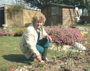 Lady in the garden in the spring of 1988