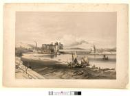 Conway Bridge. Construction of second tube,...