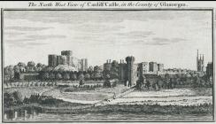 The north west view of Cardiff castle, in the...