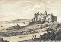Oystermouth castle, with its village and...