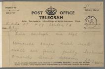 Telegram informing Y Ddraig Goch of the...