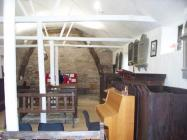 Maesyronnen chapel: interior looking to cruck...