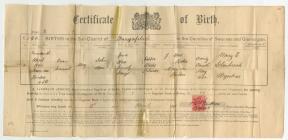 Evan Samuel Rees birth certificate, 19 April 1894