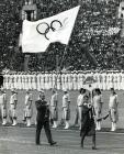 Richard Palmer carrying the Olympic flag at the...