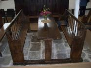 Maesyronnen chapel: table and seat at north...