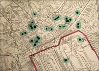 Map o Gaerdydd yn dangos y safleoedd bomio