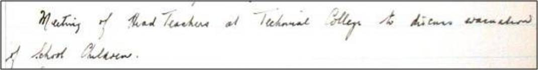 School log book entry, Ninian Park School,...