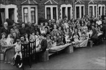 Photograph of VE Day street party, Cardiff, May...