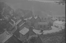 View of Llangernyw showing the Old Stag Inn yard