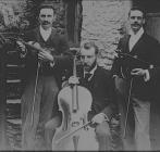 Three men with their musical instruments, circa...