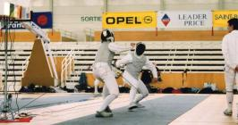 An Aberystwyth fencer in action in St Brieuc, 2003