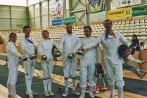 The epee teams from Aberystwyth Town Fencing...