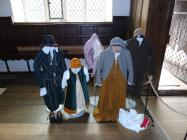 Period costume displayed at Plas Mawr, Conwy....