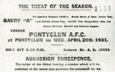 Ticket for Football Match: Pontyclun AFC v...