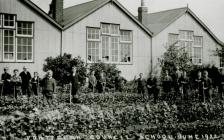 Staff and Boys, Veg Garden, Pontyclun Council...