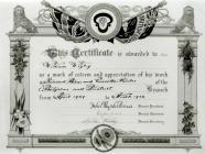 Certificate Awarded to William Wigley,...