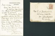 Letter to Rev. E. O. Jenkins, Llwyn Marles, 1930