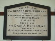 Memorial Plaque in Capel Llwynygroes, Cwmrheidol