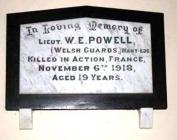 Memorial Plaque in Moriah Chapel (Baptist)