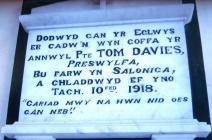 Capel Seion Chapel memorial