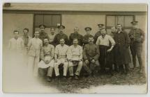 Group of First World War soldiers and kitchen...
