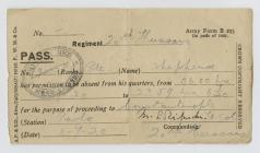 Army form B – Pass for Private Frank Shepherd