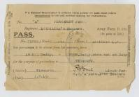 Army issue – Pass for Private Frank Shepherd....